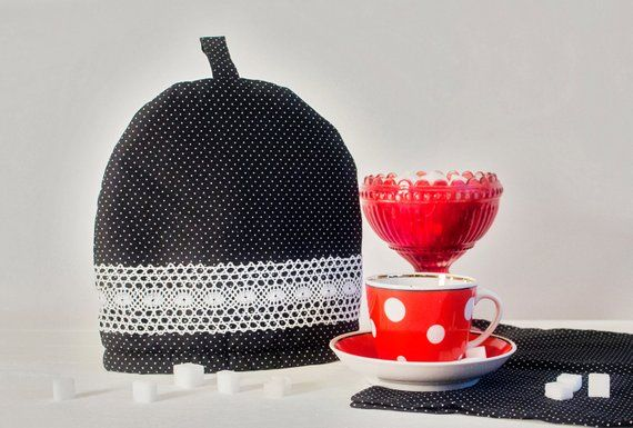 ccf56991928d Polka Dot Teapot Cozy with Lace, Black White Cotton, Handmade Cozy, Dotted Coffee  Pot Warmer, Small