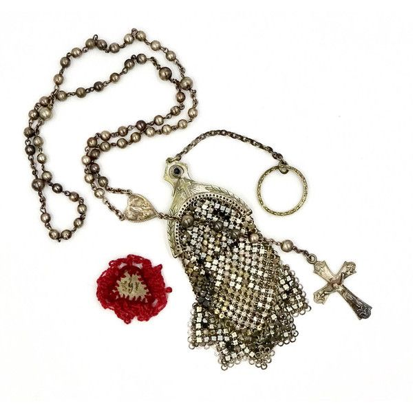 Antique CATHOLIC RELIC ROSARY Beads Steel Cut Mesh Case Bag with Our... (3.150 ARS) ❤ liked on Polyvore featuring bags, handbags, clutches, white clutches, long purse, pouch purse, antique mesh purse and antique purses