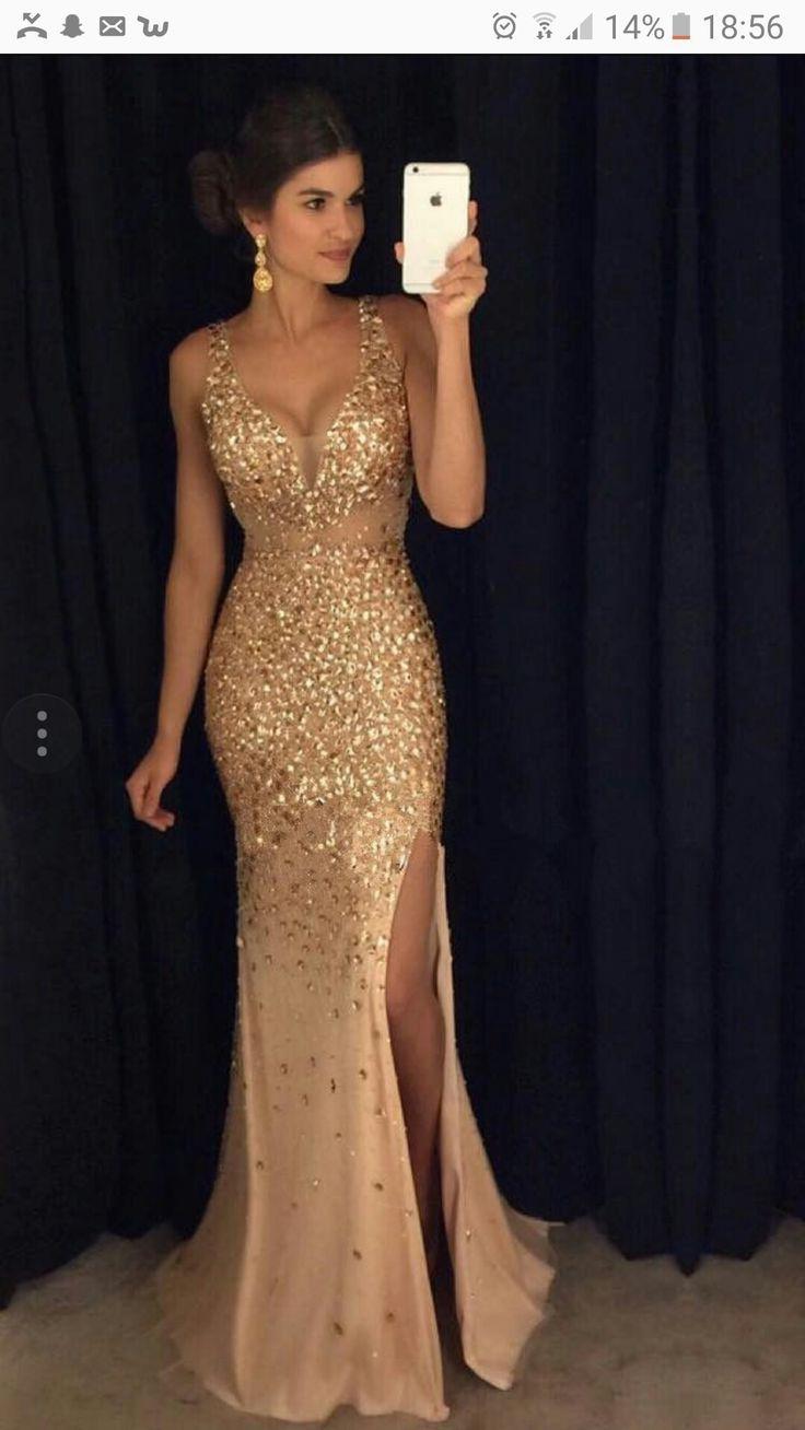 Golden sparkly prom dress mermaid prom dresses pinterest