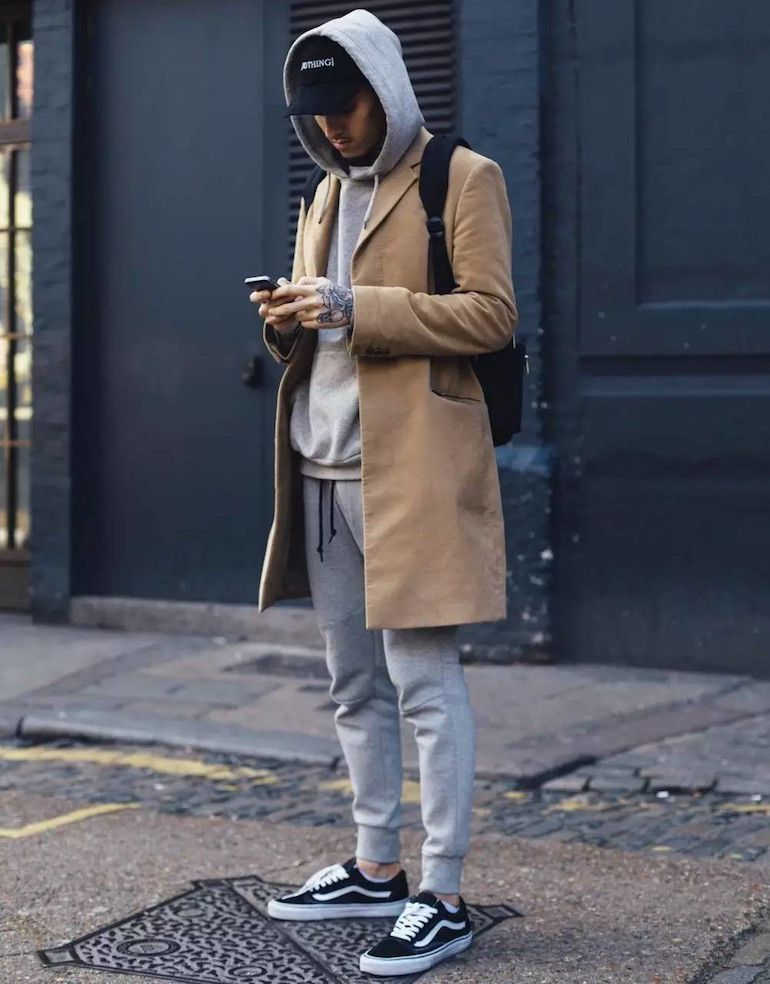 da2e4cf15c mens street style camel overcoat grey hoodie grey tracksuit bottoms black  vans