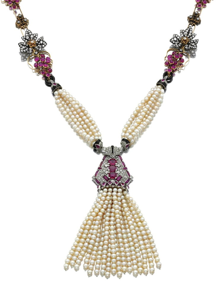 PEARL, RUBY, GEM-SET, ENAMEL & DIAMOND SAUTOIR.  Suspending a pearl tassel with a geometric plaque surmount set with variously shaped rubies & diamonds, accented with cabochon onyx & black enamel connections with strands of twisted pearls, the centre set to either side with a series of links designed as stylised fruiting vines, set rubies, highlighed with  diamonds, French assay and maker's marks for Cartier on the tassel, case by Cartier Paris, composite, the front motif circa 1925.