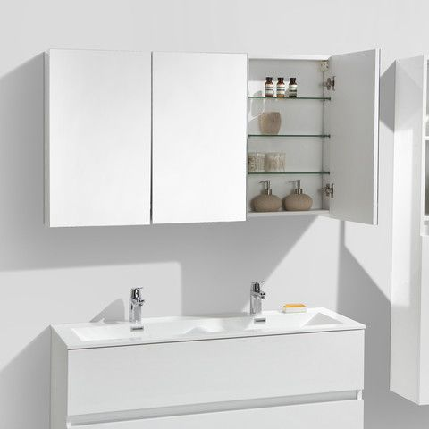 armoire de toilette bloc miroir siena largeur 120 cm blanc laqu meubles de salle de bain. Black Bedroom Furniture Sets. Home Design Ideas