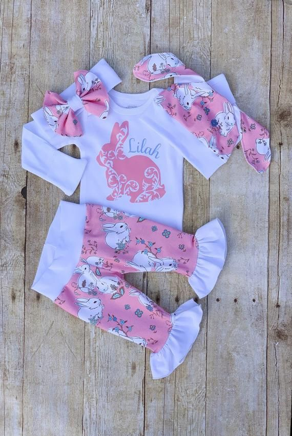 2c0421f79c51e Baby Girl Personalized Easter Ruffle Outfit, Vintage Bunny Rabbit Easter  Set, Pink Hat, Pants Set, N