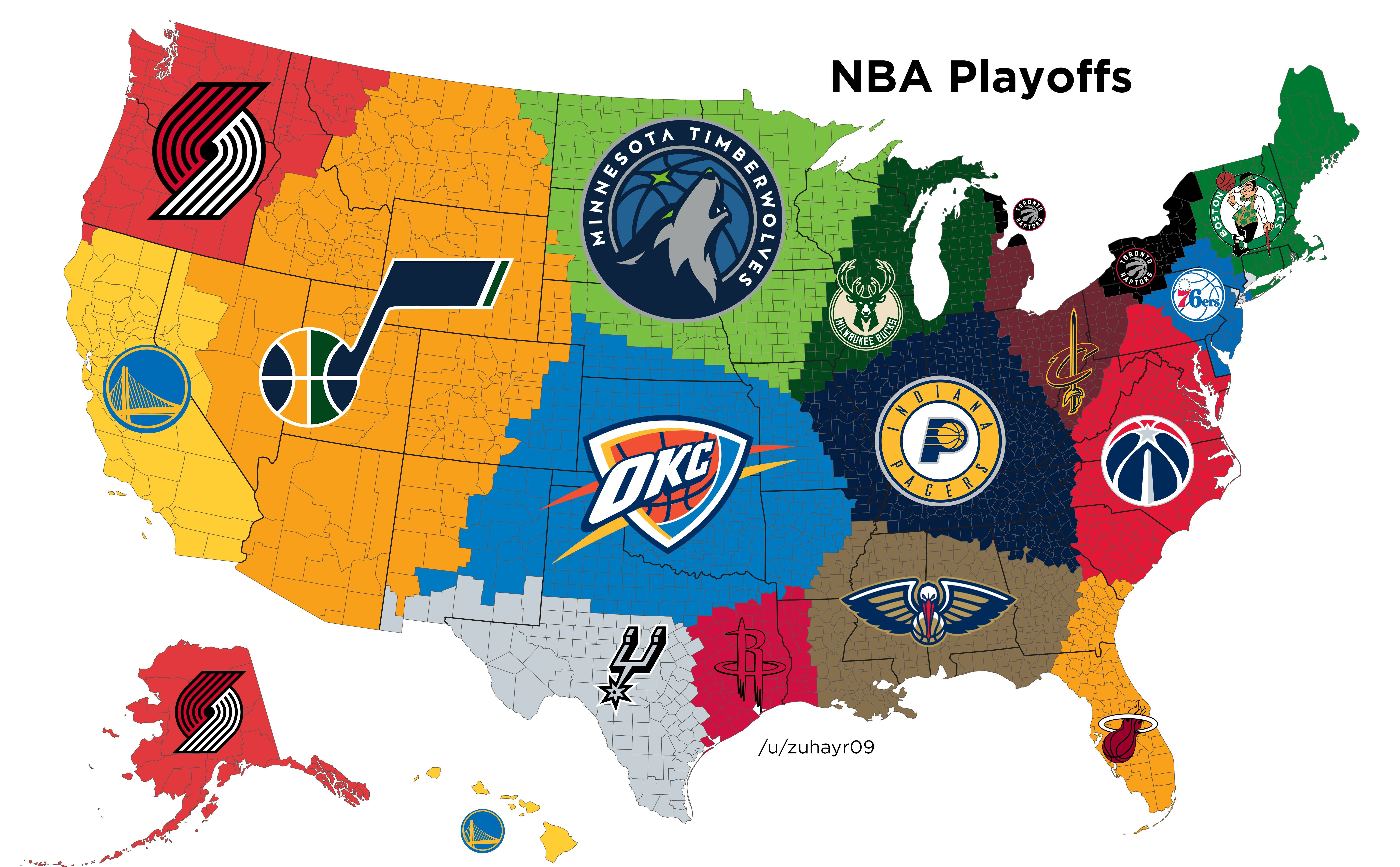 Closest NBA Playoff Team to Each US County - 2018 | MAPS | Mapas