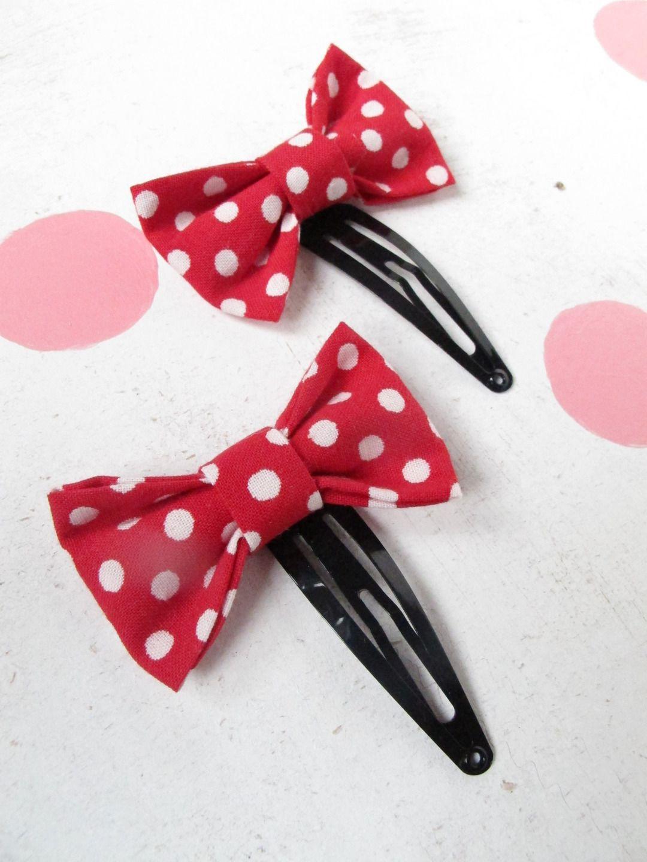 PINCE accessoire cheveux fille noeud papillon tissu rouge pois blancs ,barrette accessoire cheveux fille noeud : Accessoires coiffure par felicity-fraise