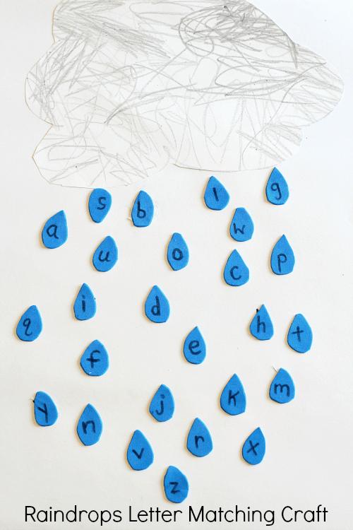 Raindrops Letter Matching Craft. Preschool weather craft and alphabet activity!