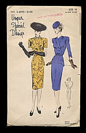 1940s Vogue S-4595 One Piece Dress Sewing Pattern. Click on the image for more information.