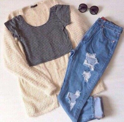 ripped jeans + stripes