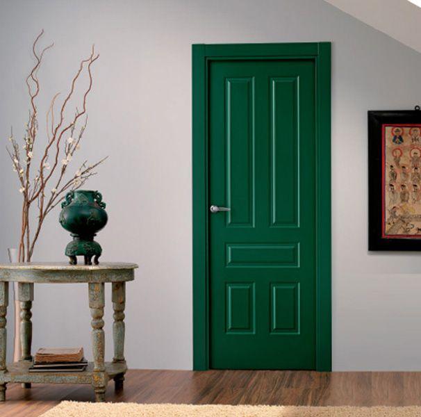 Puerta de interior lacada en verde, modelo Lacada 5012 | Diseños de ...