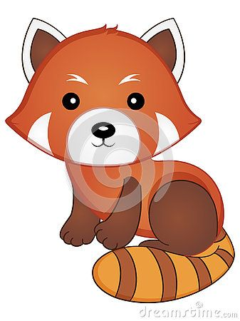 Vector Illustration Of A Cute Baby Red Panda Red Panda Red Panda Baby Baby Cartoon