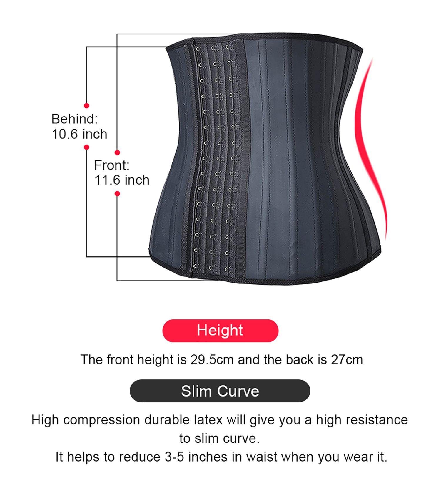 eaa22f46086a0 Camellias Women Classic 3 Hooks Latex Waist Trainer Corset For Weight Loss  Waist Cincher Body Shaper Slimmer Tummy Control Shapewear Black