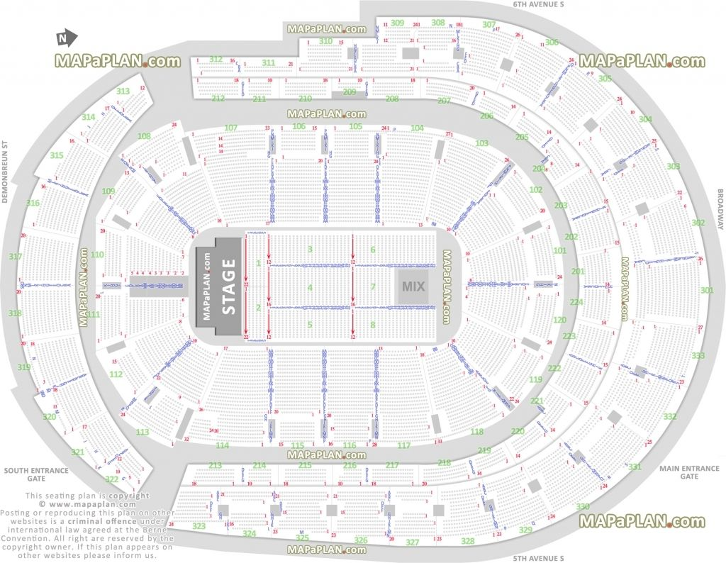 Bridgestone Arena Seating Chart With Rows And Seat Numbers Di 2020
