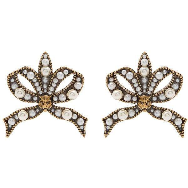 Gucci Faux-pearl and feline-embellished bow earrings El4jQOjIM