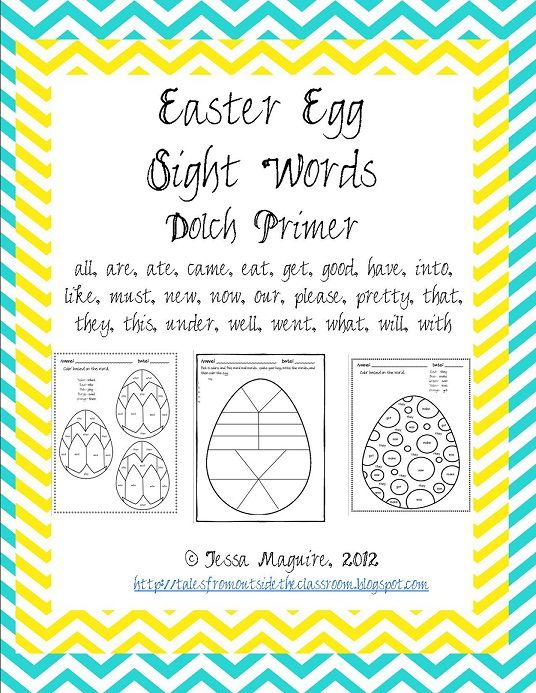 Easter themed, color by sight word