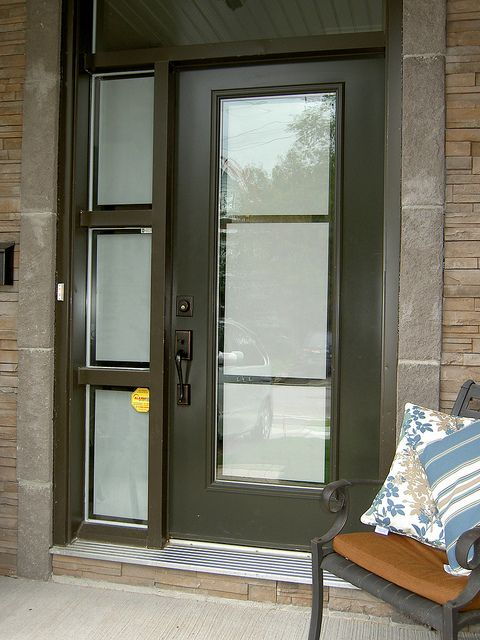 Front door and sidelight with privacy frosted film on ...