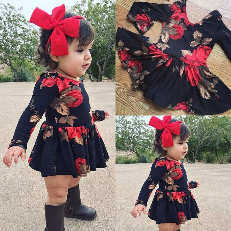 US Newborn Kid Baby Girls Ruffle Flower Dress Casual Outfits Summer Clothes 1-5T