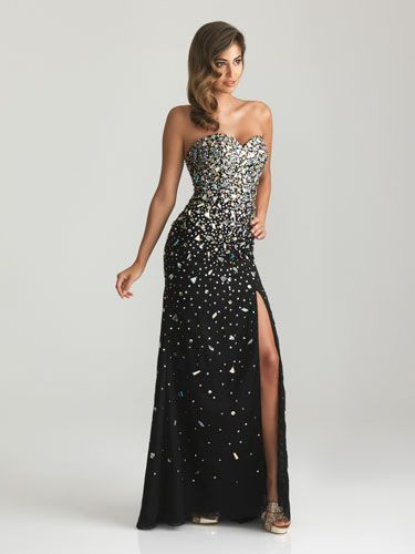 Black dress with gradient sparkles and side slit: | Prom | Pinterest ...