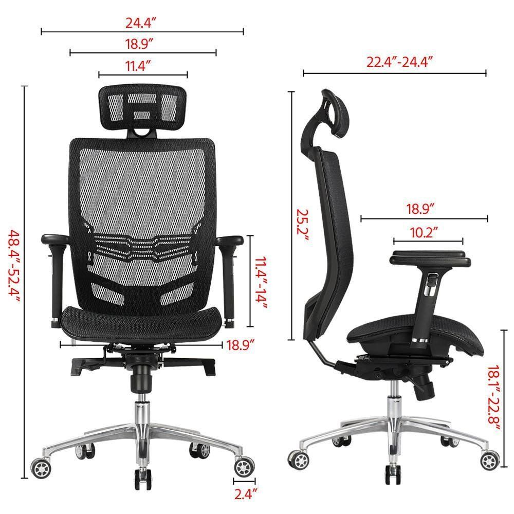 Yaheetech High Back Mesh Office Chair Ergonomic Computer Desk Chair Seat Height Headrest Armrest Angle Of Backrest Mesh Office Chair Office Chair Computer Desk