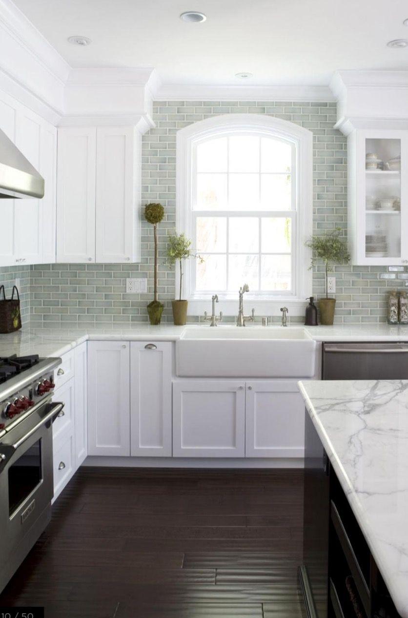 Window apron sink glass door cabinets splash back colour scheme