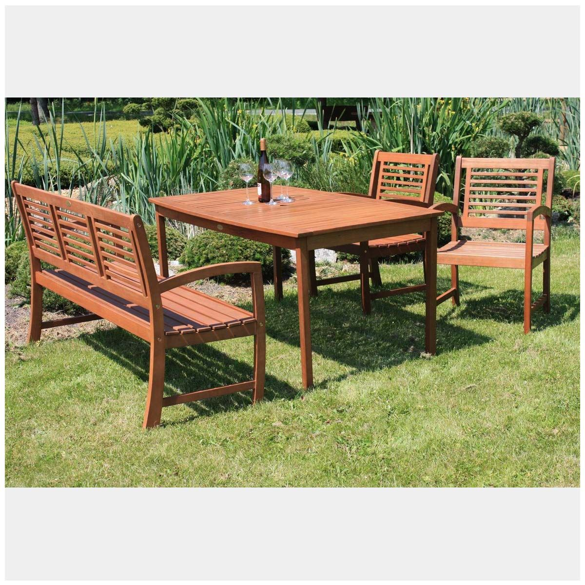 Tischgruppe Madison 4 Teilig Holz Gartenmobel