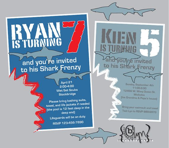 Shark Attack Birthday Party Invitation With Shark Bite Cutout - Free shark birthday invitation template