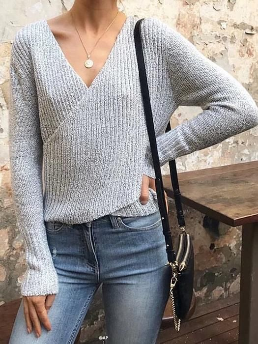 a5a892fccfe Off Shoulder V-neck Cross Sweater in 2019 | Fashion 2018 | Sleeves ...