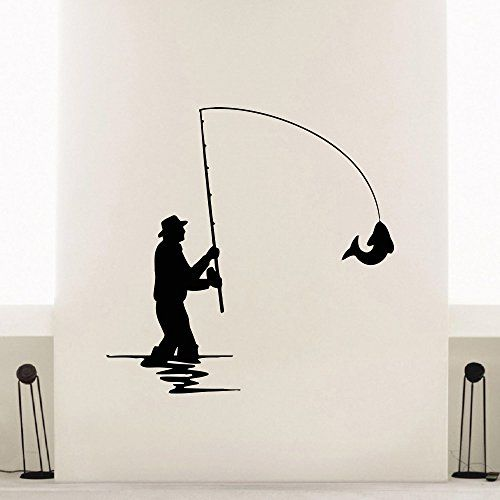 Wall Decal Vinyl Sticker Animal Fishing Rod Fish Decor Sb Office Art Home Mural