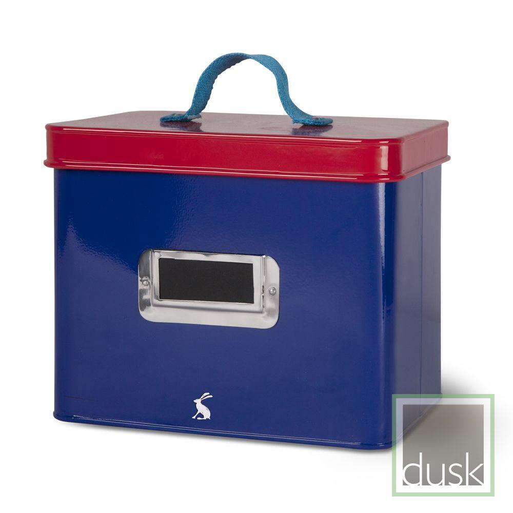 Joules Medium Storage Box In Blue Print With A Melon Lid Josb01
