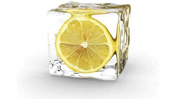 Minimalism, lemon, ice, cube, slice