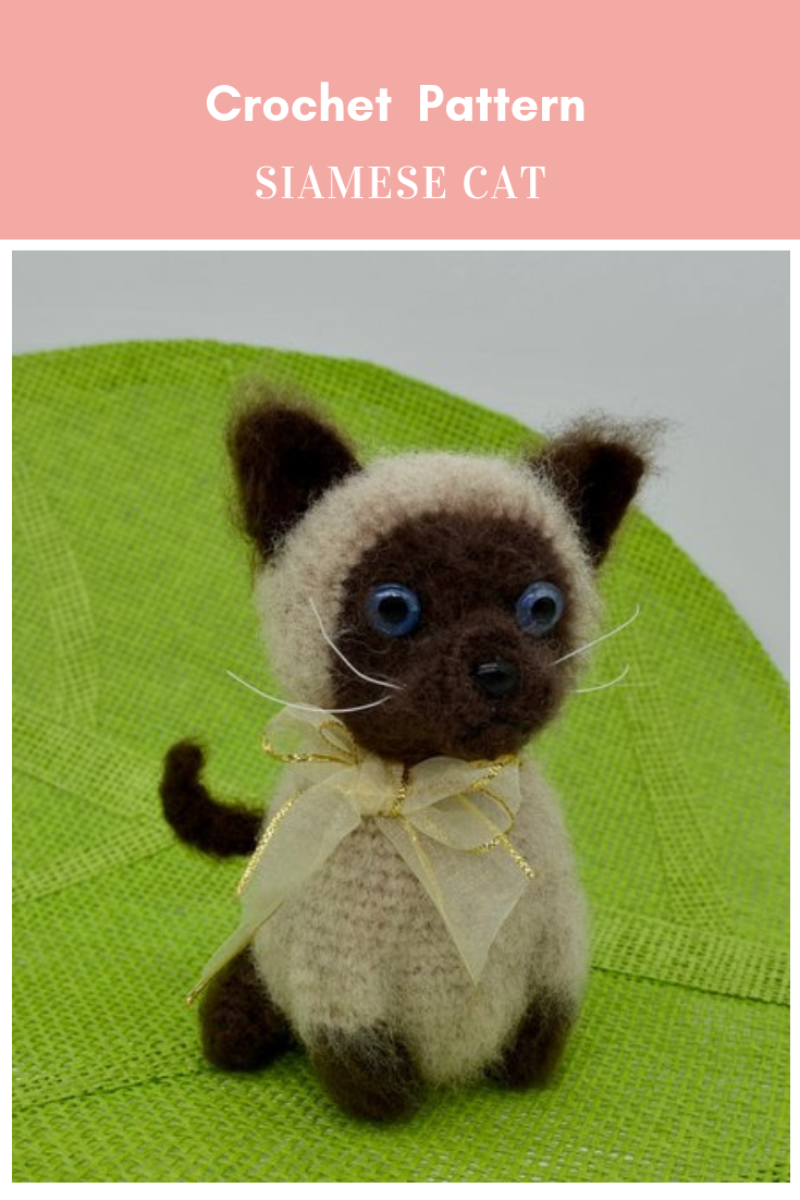 siamese cat figurine - crochet cat amigurumi | 1102x735