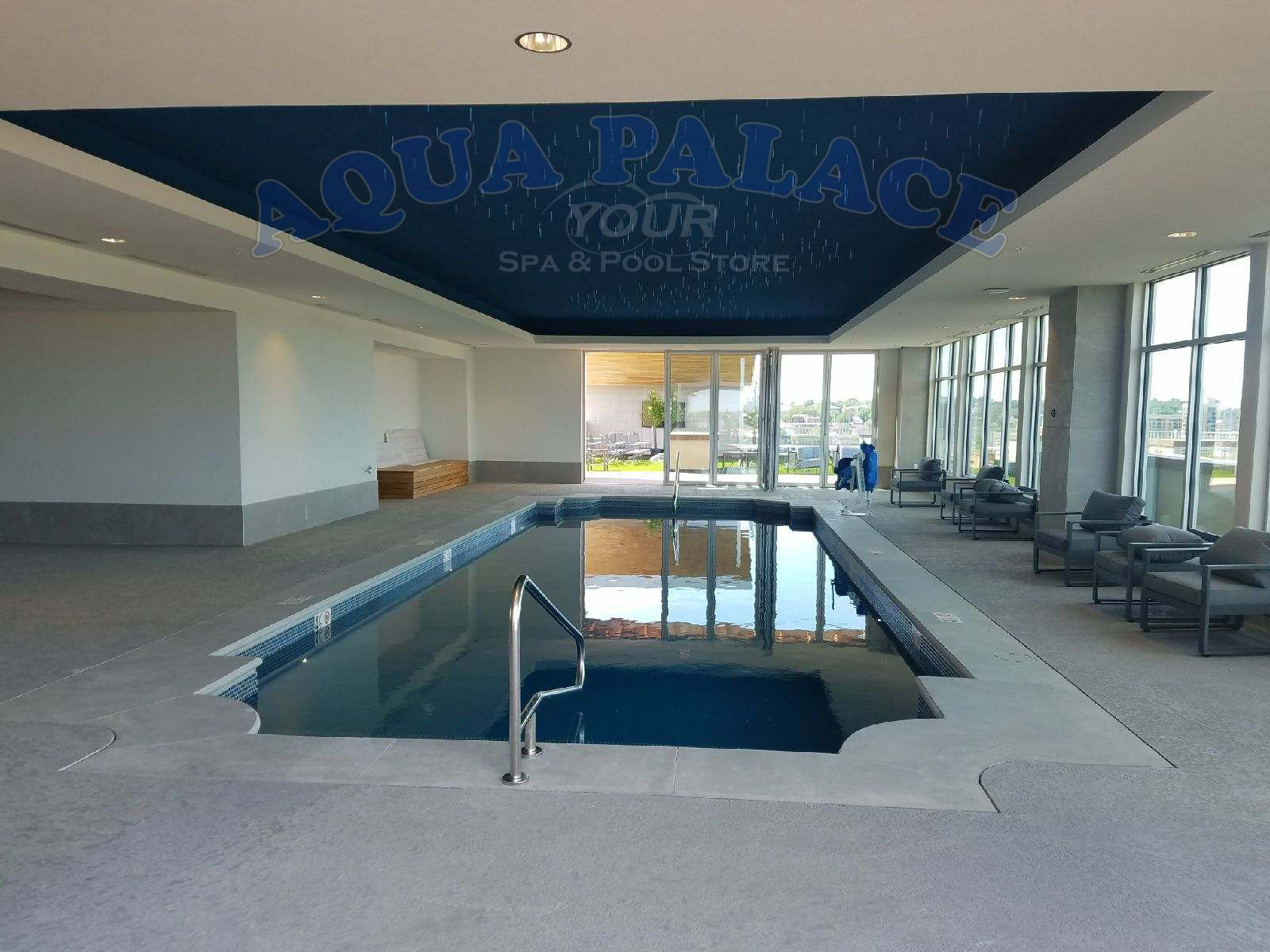 Atlas Apartments In Downtown Omaha Ne Fiberglass Pool On 8th Floor 16 X 44 Pool With Dual Staircases Cust Pool Builders Building A Pool Fiberglass Pools