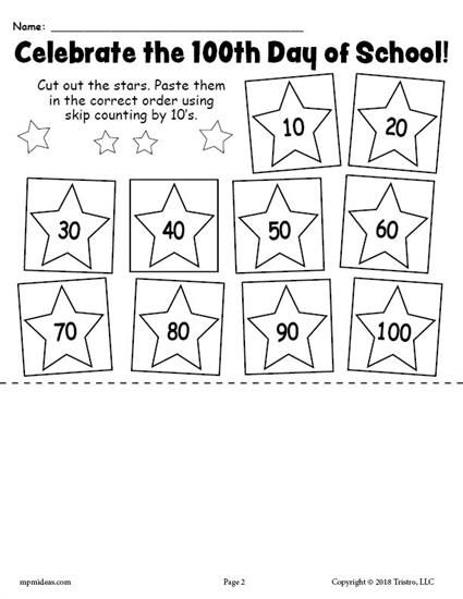 FREE Printable 100th Day of School Skip Counting By 10 s Worksheet