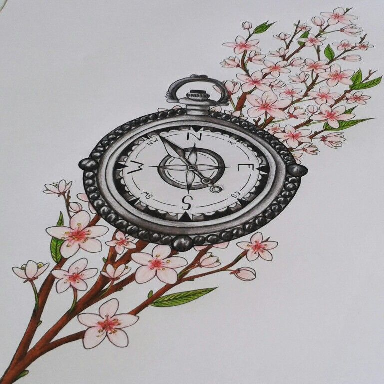 Tattoo Drawing Realistic Compass Cherry Blossoms Black And White Coloured Vintage By Phenix Unique Tattoos Vintage Tattoo Family Tattoos