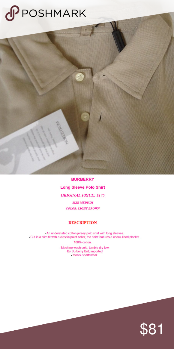 Burberry Long Sleeve Polo Shirt LIGHT BROWN  48 The item is come with tags. e8ce81f50ac0