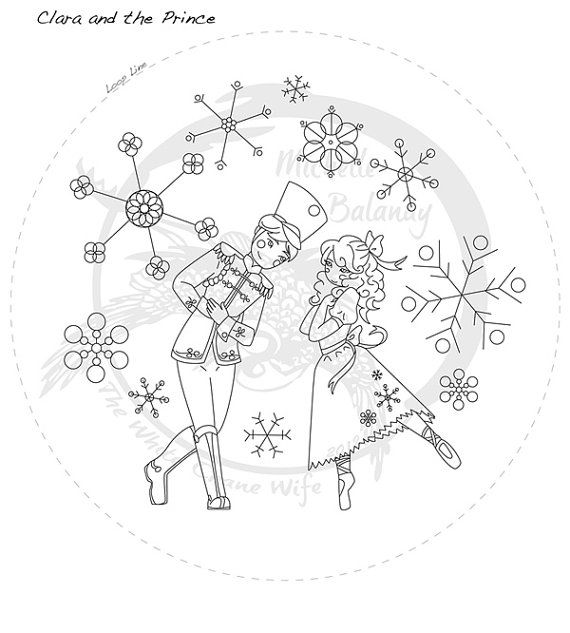 Nutcracker Prince and Clara Embroidery Pattern by