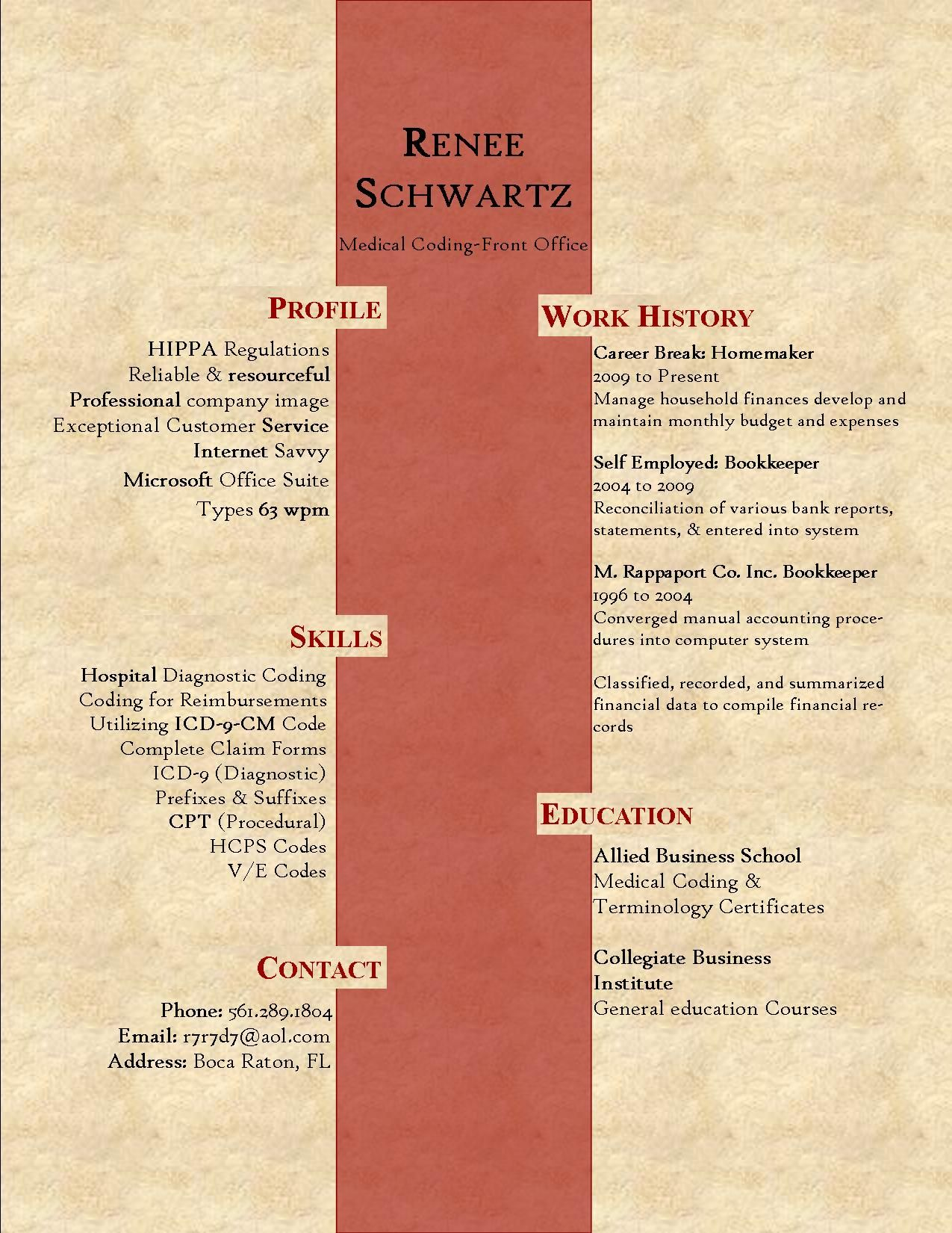 Medical coding student renee schwartz resume career