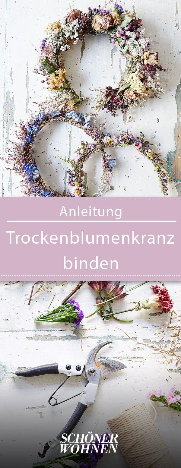 Kranz binden – so klappt's mit Trockenblumen