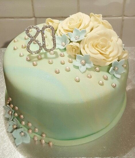 Cake For 80 Year Old Lady With Roseshydrangeas And Pearls