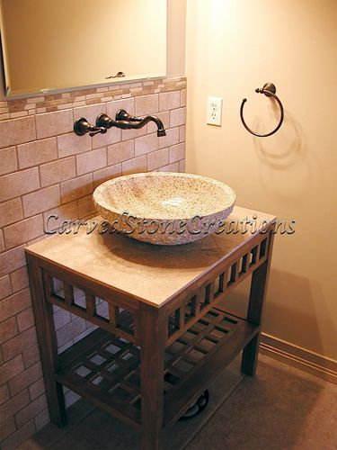 Install A Vessel Sink In Your Bathroom For A Unique Contemporary  Alternative To The Boring Traditional Wooden Vanity. #stone #sink #bathrooms