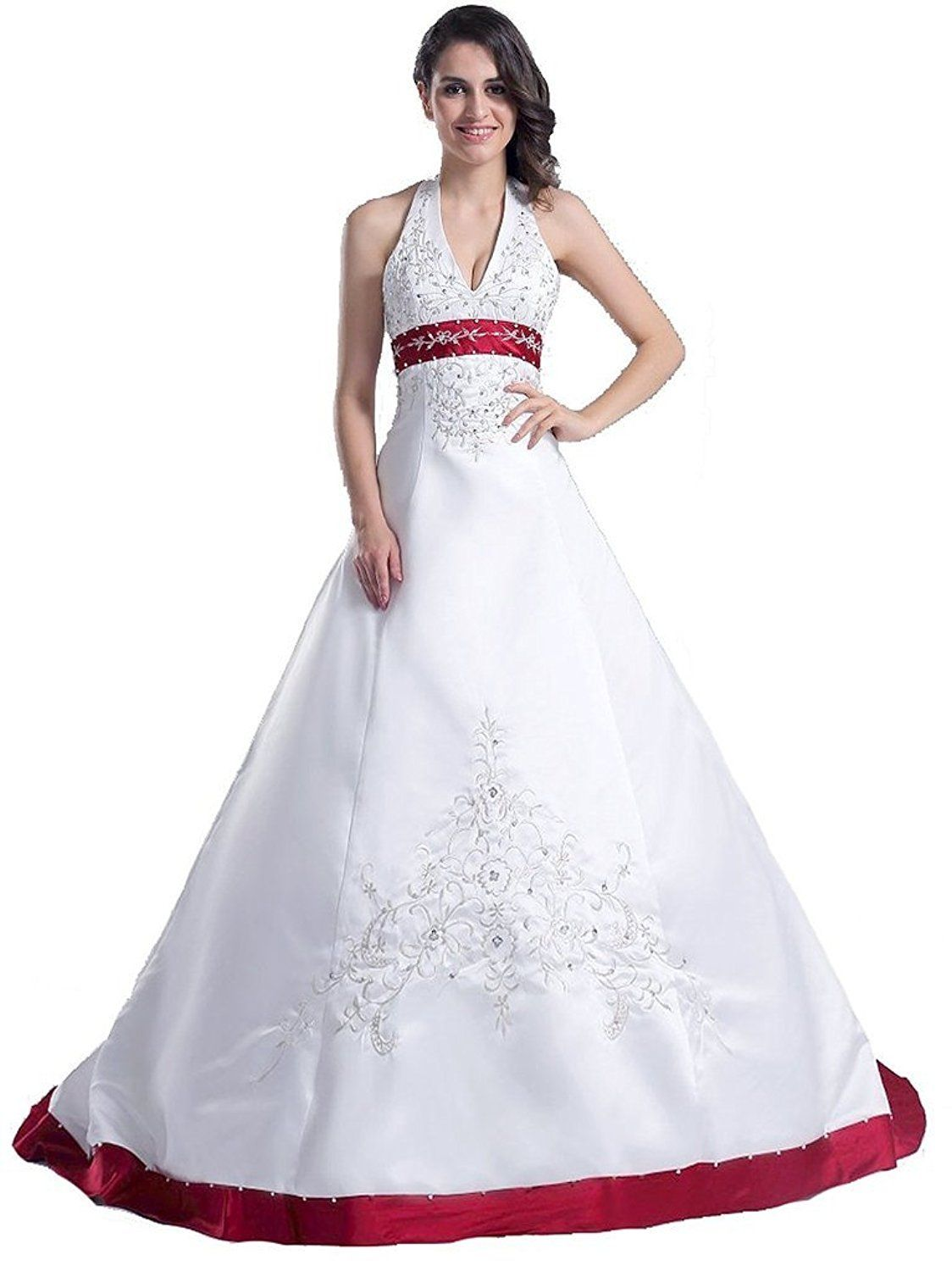 1bf59cc0692 Snowskite Womens Halter Embroidery Satin Wedding Bridal Dress Corset Back     Discover this special product