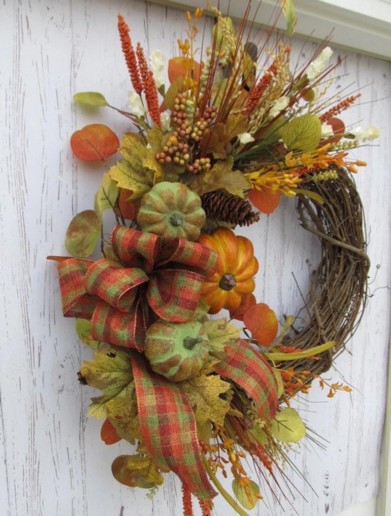 Photo of Best autumn pumpkin door wreath, autumn green and orange pumpkin, autumn vine wreath