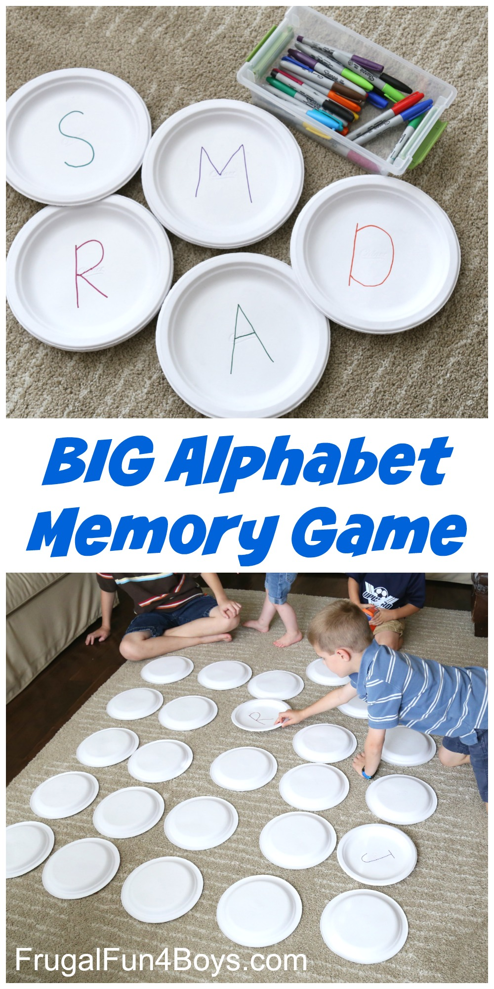 Here's a fun preschool alphabet game that will have kids learning their letters in no time! Jonathan loves playing the memory game, so I thought why not combine it with learning the alphabet! Paper plates are such a handy craft supply. I grabbed a stack and wrote letters on them with Sharpies. I did pairs …