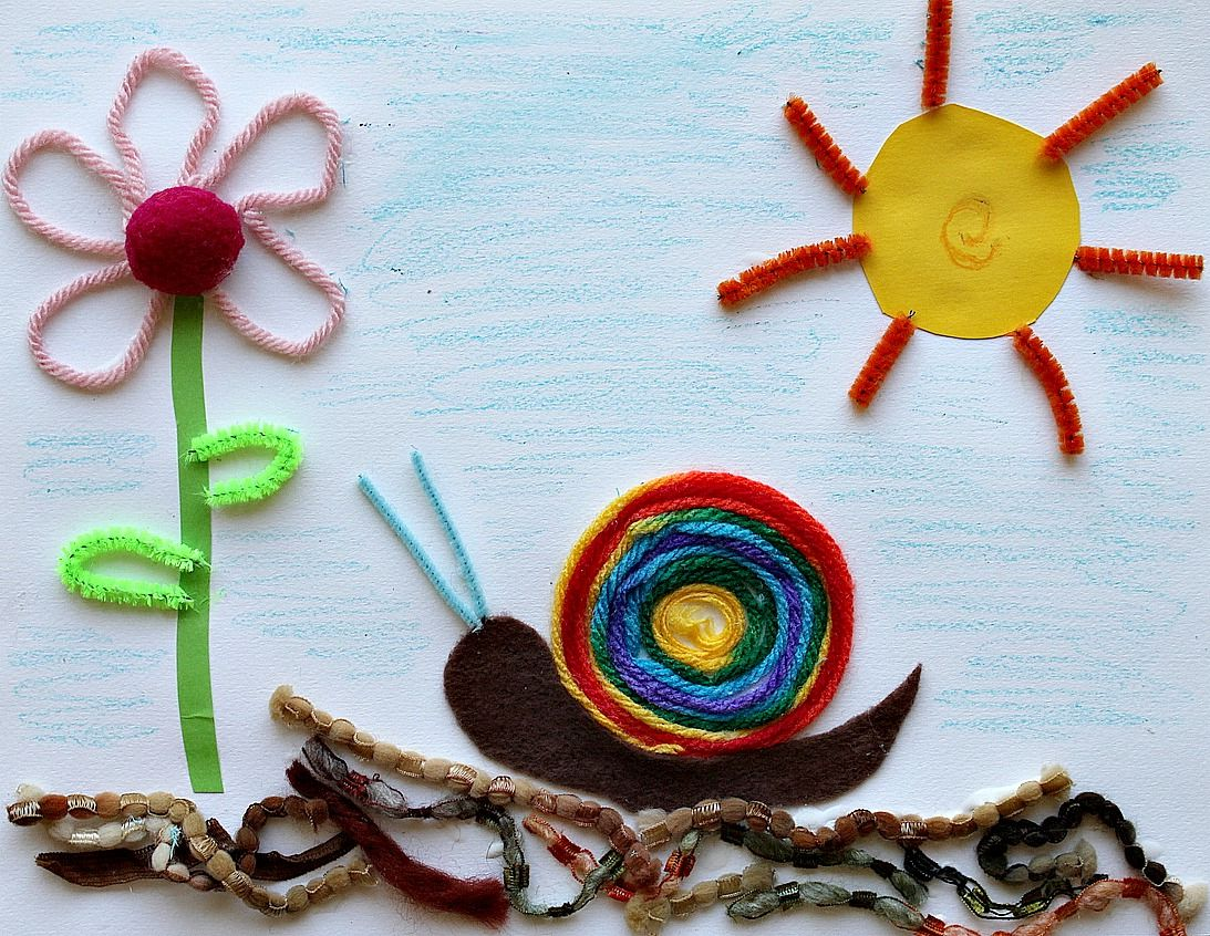 Children S Craft Using Scraps For Young Baby Art Crafts Fun