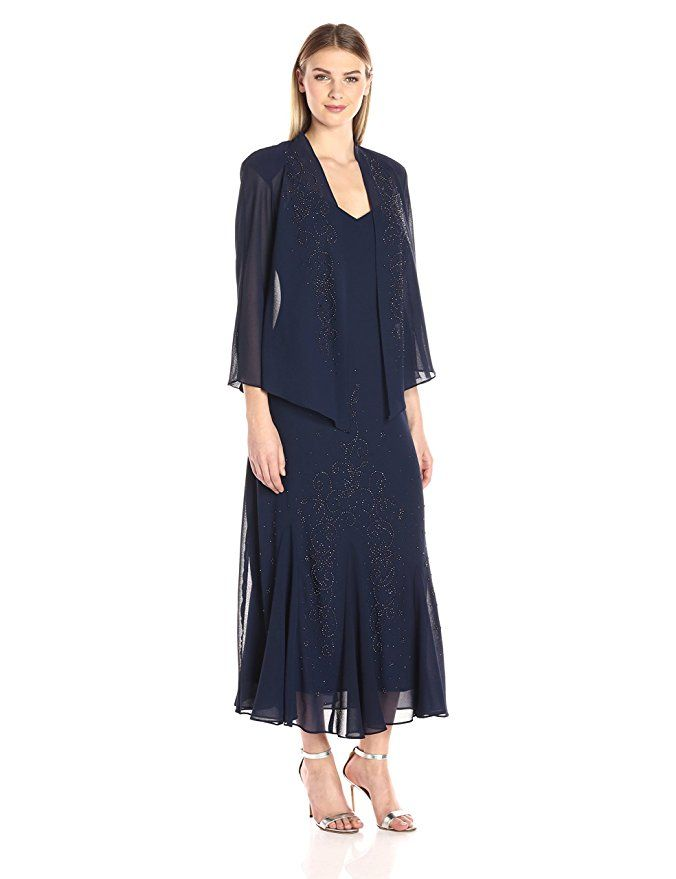 7854158c77c R M Richards Women s Beaded Chiffon Jacket Dress at Amazon Women s Clothing  store