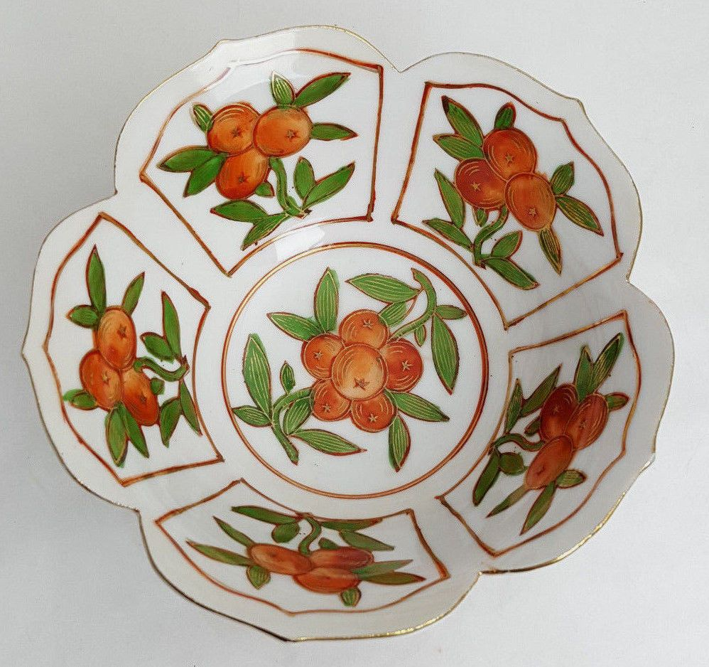 Vintage Japan porcelain lotus bowl oranges 6-inch Mid-Century marked LJ
