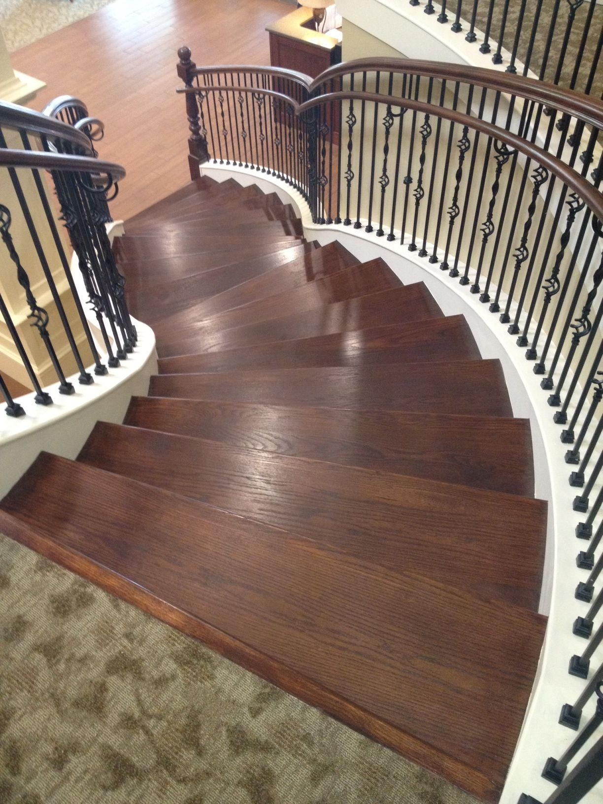 Best Custom Curved Staircase Made Of Wood And Iron Parts Visit 400 x 300