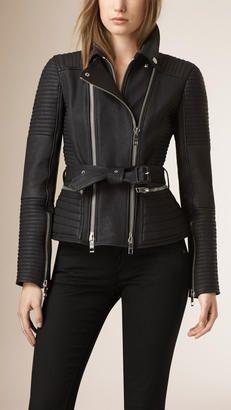 Burberry Zip Detail Leather Biker Jacket