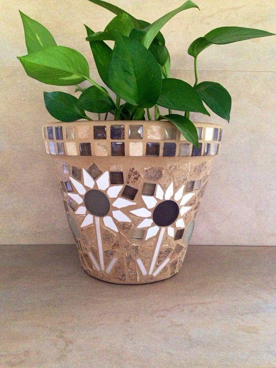 Mosaic Planter Large Flower Pot Rustic Plant Container Outdoor Patio Planter Kitchen Window Plant Storage Handmade Mosaic Garden Art Macetas De Flores En Mosaico Macetas Decoradas Jarrones Pintados