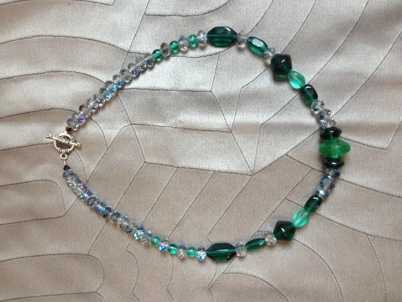 green antique glass NECKLACE faceted grey aurora borealis crystal rondells on Etsy, $53.00