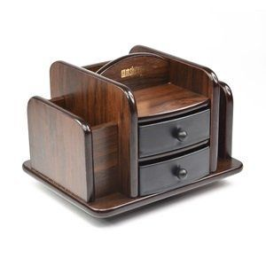 Amazon Com Dark Brown Wood Rotating Desktop Organizer Sorter Stuff Storage Holder With T Desktop Organization Wooden Desk Organizer Rotating Desktop Organizer